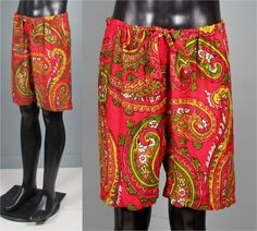 Vintage Mens 1960s Shorts  Crazy Paisely Draw by jauntyrooster