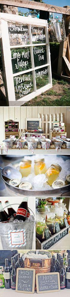 Ideas para la mesa de bebidas de tu boda