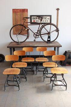 Set of 6 Vintage Industrial Toledo UHL Draftsman Chairs - 1950s