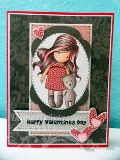 Valentine card.  Copic Coloring.  Gorjuss girl stamp.