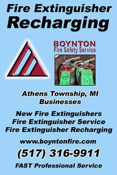 Fire Extinguisher Recharging Athens Township, MI (517) 316-9911 Local Michigan Businesses Discover the Complete Fire Protection Source.  We're Boynton Fire Safety Service.. Call us today!