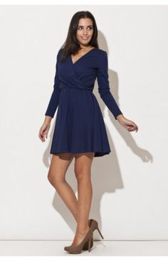 0439cec7b8f Robe Manche Longue Model K116 Bleu Katrus 44010 Robes Courtes