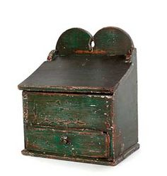 """Pennsylvania painted pine and poplar hanging salt box, 19th c., 13"""" h., 10"""" w. Sold at Pook and Pook February 23-24, 2011."""