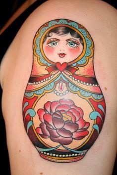 Matryoshka by Emily Wood - Black Heart Tattoo Studio, Epsom, UK Tattoo Foto, Great Tattoos, Beautiful Tattoos, Body Art Tattoos, Tatoos, Beautiful Body, Russian Doll Tattoo, Ukrainian Tattoo, Ideas