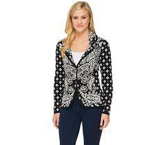 64.33$  Buy here - http://vizse.justgood.pw/vig/item.php?t=jx6mc550705 - Isaac Mizrahi Engineered Paisley Long Slv Sweater Blazer Black XS NEW A262076 64.33$