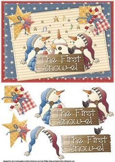 The first snow el country Christmas on Craftsuprint designed by Carol Smith - a decoupage sheet for Christmas with a patchwork country feel has three snowman happily singing Christmas Carol's has a board in front of them with the words the first snow-el on.thank you for looking please take a peek at my other items - Now available for download!