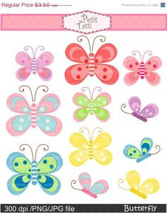 ON SALE butterfly clip art  Digital clip art  for by petittatti