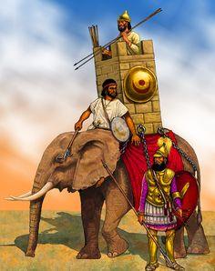 Carthaginian war elephant, Punic War Carthage, Ancient Art, Ancient History, War Elephant, Punic Wars, Empire Romain, Roman Empire, Warfare, Painting