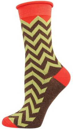 The Joy of Socks - Fern and Brown Chevron Relaxed Roll Top Socks (Women's), $6.50 (http://www.joyofsocks.com/fern-and-brown-chevron-relaxed-roll-top-socks-womens/)