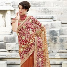 Pink and Orange Net Saree With Blouse