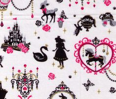 HALF YARD - Alice in Wonderland Pink, Gold and White silhouette - Rabbit, Cat, Skulls, Watch, Deer, Swan, Castle - Cosmo Textile Japanese on Etsy, $8.25