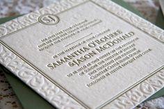 One of our older wedding invitation designs Wedding Invitations Ireland, Wedding Invitation Design, Letterpress Wedding Stationery, Day, Prints, Shelf, Wedding Invitation