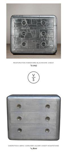 Restoration Hardware Blackhawk Chest $2,295 Vs @overstock Aero 3-Drawer Silver Chest Nightstand $1,800