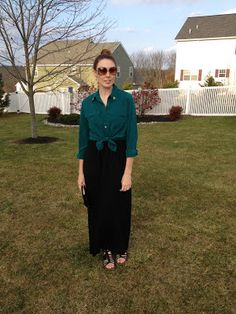 B's Goodwill Hunting: Teal Silk Camp Blouse with Black Maxi Skirt and Black Gladiator Sandals