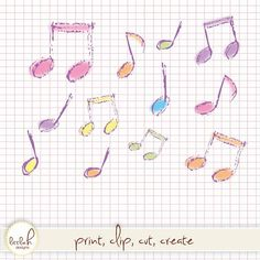 Clipart - 16 Pastel Musical Notes - Hand Drawn Look- Digital Files Vector EPS / PNG / Clip Art / Music Notes / Beam Crotchet Quaver