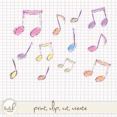 Clipart - 16 Pastel Musical Notes - Hand Drawn Look- Digital Files Vector EPS / PNG / Clip Art / Music Notes / Beam Crotchet Quaver