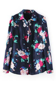 ROMWE   ROMWE Floral Print Lapel Loose Navy Shirt, The Latest Street Fashion