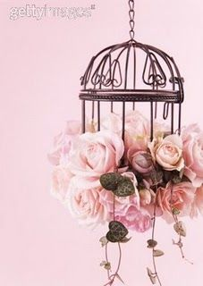 bird cage with pink roses