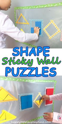 This fun shapes on contact paper activity is great for developing spatial awareness a key first step in early math for toddlers and preschoolers. Preschool Lessons, Toddler Preschool, Toddler Activities, Preschool Activities, Toddler Toys, Indoor Activities, April Preschool, Toddler Games, Preschool Curriculum