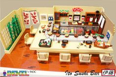 My goodness!  Look at this wonderfully detailed LEGO sushi bar!