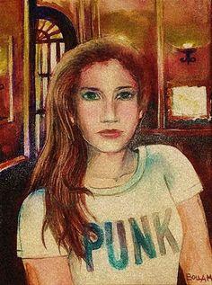 In doubts. - Kétségek Akrylic on canvas - 18 x 24 cm - by Márta Bolla - Hungary. Hungary, Mona Lisa, Portraits, Paintings, Canvas, Artwork, Women, Art Work, Work Of Art