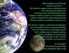 """""""Presenting a Poem for the Earth and Al Gore's Unwavering Optimism (Part 1 of 2)"""" essay & Postered Poetics by Aberjhani. Earth Day. Climate Change. Climate Agreement Signing. Video."""