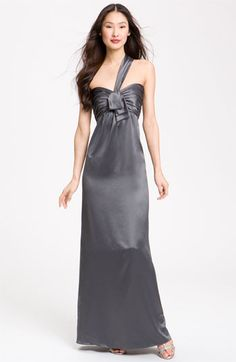 Amsale Charmeuse One Shoulder Gown... charcoal, gray, long, formal bridesmaids dress $250