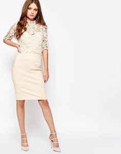 Image 4 ofPaper Dolls High Neck Lace Dress with Pencil Skirt