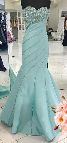 Luxurious Mermaid Long Prom Dress, 2017 Prom Dress, Light Blue Prom Dress,32