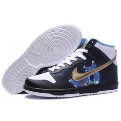 official photos c4913 b29ae Nike Sb Dunk High Black White 2012 New Cut Mens Shoes Gold Blue Top Shoes,