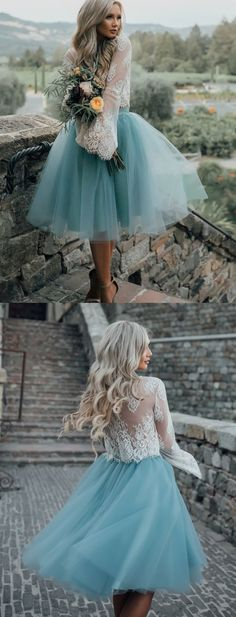 Fashion Homecoming Dresses,Two Piece Homecoming Dresses,Long Sleeves Homecoming Dress,White Lace Prom Dresses,A Line Homecoming Dress,Princess Homecoming Dress,Tulle Homecoming Dress