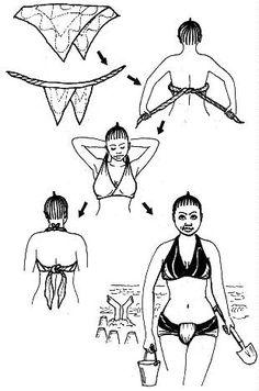 Pareos. O sarong é um grande retângulo de tecido que é enrolado em volta da cintura para enfrentar o sol. Em um tecido fluido e leve, corte um retângulo de 1,15 m por 2 m. Faça uma bainha dupla nas bordas externas. Envolvido em torno da cintura, ele vai fazer uma saia linda praia.  Sutiã, segunda versão: Dobrar a canga diagonalmente de modo a ter dois pontos. Enrole o cabo à base e anexá-lo na parte de trás. Traga as pontas dos seios e amarre as pontas no pescoço.