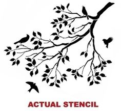 Tree Branch Stencil | WALL STENCIL TREE BRANCH WITH SONG BIRDS by CuttingEdgeStencils | Home