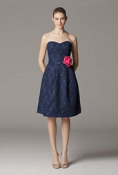 Love the look of the lace.... wish it had straps.  Navy blue lace, strapless bridesmaid dress. Aria.