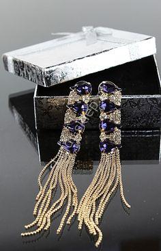Kolczyki z niebieskimi kryształkami - łezkami | kolczyki wieczorowe. Blue earrings lejdi-sklep.pl