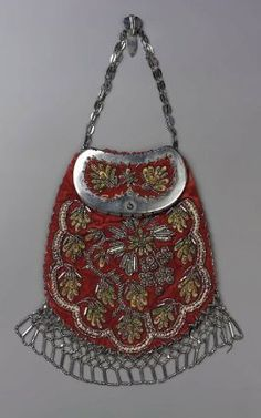 Chatelaine bag  beadwork  French, 19th century France  DIMENSIONS: 14.5 x 19.5 cm (5 11/16 x 7 11/16 in.)  MEDIUM OR TECHNIQUE: Silk; Red velvet trimmed with steel beads  CLASSIFICATION: Jewelry / Adornment  ACCESSION NUMBER: 43.1146  Museum of Fine Arts, Boston