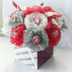 Items similar to Tissue Paper Flowers Lollipop Sucker Ohio State Buckeyes Football Bucks Scarlet Gray White Tailgate Party 15 per box on Etsy Ohio State Wedding, Ohio State Buckeyes, Buckeyes Football, Ohio State Crafts, Football Wedding, Football Banquet, Wedding Tissues, Tissue Paper Flowers, Paper Poms
