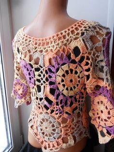 Crochet top crochet tunic Crochet tank Flower's by idafrompushkin