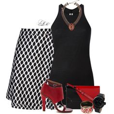 """B&W Pops of Red"" by tmlstyle on Polyvore"
