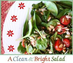 Healthy salad side dish recipe with: Baby Spinach leaves with Toasted Pine Nuts and Cherry Tomatoes on Family Fresh Cooking lifestyle blog. This is delicious! I just made it as a side and it's refreshing and satisfying!