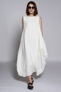 White Maxi Dress / Unique Loose fitting Long Dress /Vest Sundress Asymmetric Summer Dress  for Women  - NC690