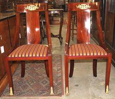 Chair, Art Nouveau, mahogany, brass, 1900, 95 cm x 47 cm x 50 cm (h x w x d), www.stodola.cz Armchairs, Sofas, Art Nouveau, Antique Furniture, Dining Chairs, Brass, Antiques, Home Decor, Wing Chairs