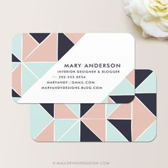 Geometric Personalized Contact Card / Mommy Card / Business Card by ©… Business Card Maker, Unique Business Cards, Business Card Design, Calling Card Design, Name Card Design, Branding Design, Logo Design, Design Cars, Bussiness Card