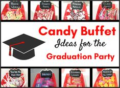 I absolutely LOVE this simple idea for a graduation-themed candy buffet! Your guests can satisfy their sweet tooth AND get a laugh out of the cute names for the candy. Check out these ideas for a Graduation Party Candy Buffet! Graduation Party Desserts, Outdoor Graduation Parties, Graduation Party Centerpieces, Graduation Party Planning, College Graduation Parties, Graduation Decorations, Graduation Party Invitations, Graduation Party Decor, Graduation Ideas