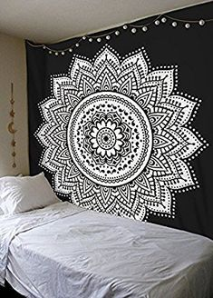 Amazon.com: Labhanshi Black White Mandala Tapestry , Indian Hippie Wall Hanging , Bohemian Twin Wall Hanging, Bedspread Beach Tapestry 54x78 inch: Home & Kitchen