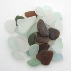 Surf tumbled English beach glass, sea glass, Cornwall, eco craft supply, jewelry making supplies, 30 frosted pieces, UK collector and seller by BlueBoxStudio on Etsy