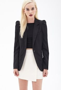 Puffed-Shoulder Boyfriend Blazer