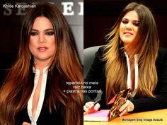 CABELOS ESCUROS COM MECHAS CALIFORNIANAS Khloe Kardashian