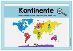 Kartei und Arbeitsheft zu den Kontinenten Wie gestern bereits versprochen folgt nun das Material zu den Kontinenten. Die Datei enthält ei...