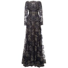 Re-Embroidered Lace Threadwork Long Sleeve Gown